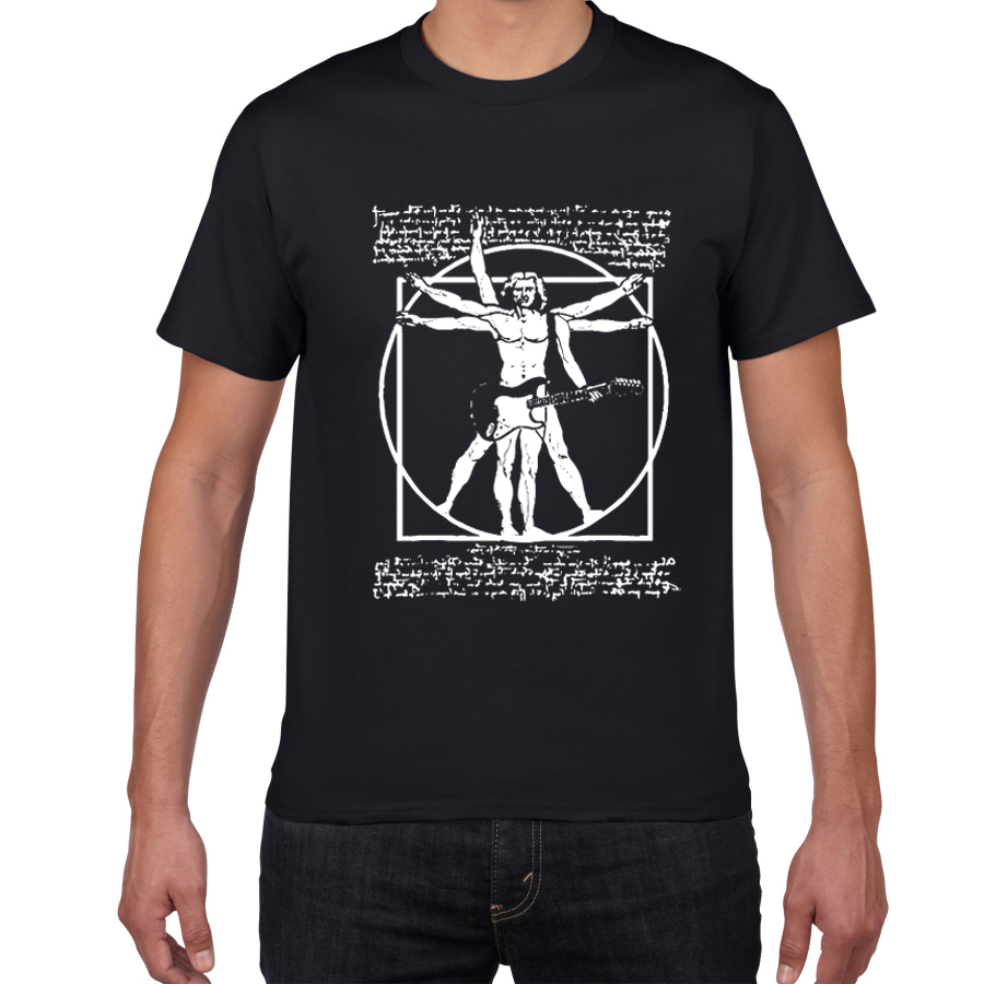 Da Vinci Guitar Funny T Shirt Men Vitruvian Man Rock Band Vintage Graphic Music Novelty Streetwear Men Tshirt Men Homme Top Tee