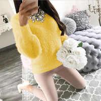 Пуловер Пушистый свитер желтый белый длинный рукав сексуальный О-образный вырез флисовый свитер женский плюс размер Повседневный тонкий ...