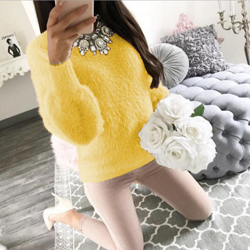 Pullover Fluffy Sweaters Yellow White Long Sleeve Sexy O Neck Fleece Sweater Women Plus Size Casual Thin  Pull Femme Hiver