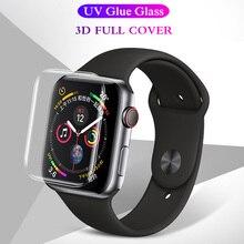 20D полное покрытие закаленное стекло для Apple Watch 38 42 40 44 мм Защита экрана для часов 5 4 3 2 серии УФ клей защитная пленка