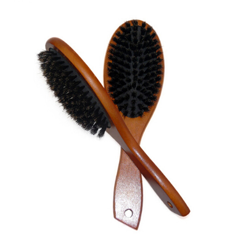 1pcs Wooden Handle Boar Bristle Hair Brush Styling Tool Anti-static Hair Scalp Paddle Brush Beech Natural Hairbrush Massage Comb