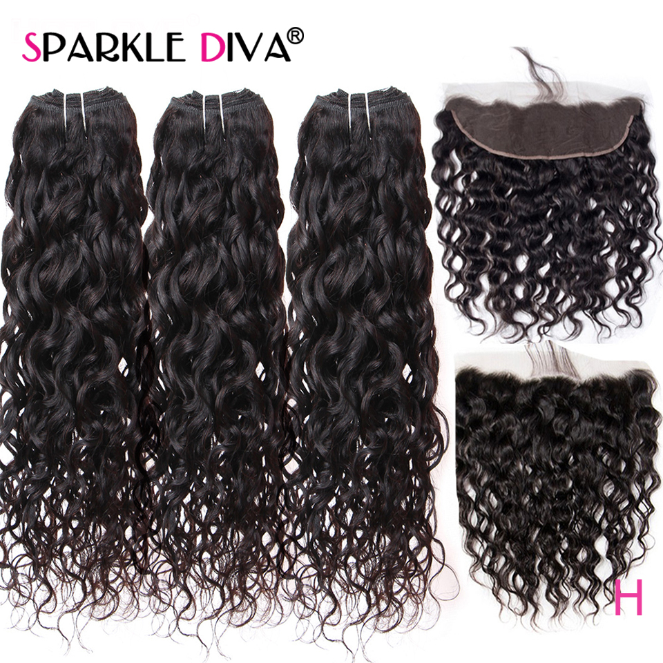 Water Wave 3 Bundles With Frontal Closure 8''-28''Remy Human Hair Extension Brazilian Human Hair Weave Bundles With Lace Frontal