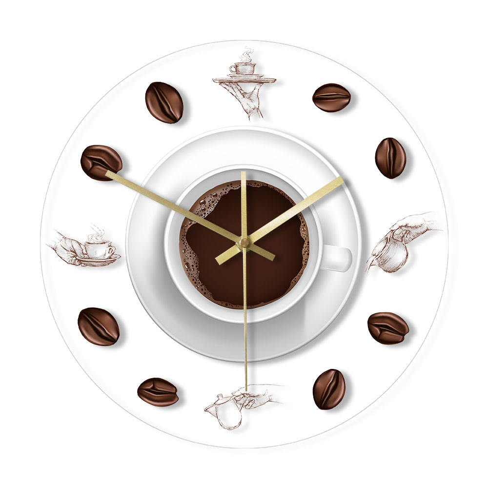 Coffee Hand Coffee Beans Wall Clock with LED Backlight Modern Design Cafe Coffee Mug Reloj De Pared Kitchen Acrylic Wall Watch