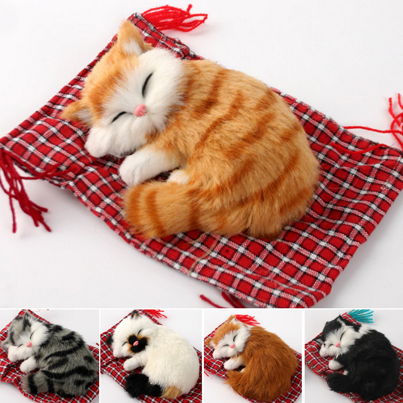Real Hair Cat Dolls Simulation Animal Toy Cats Will Meowth Children's Pet Cat Plush Toys Ornaments Birthday Gift