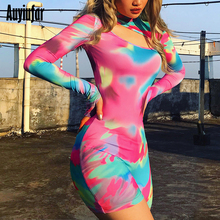 Auyiufar Tie Dye Long Sleeve Female Palysuit Sexy Cut Out Skinny Bodycon Romper 2019 Autumn Fashion Turtleneck Slim Playsuits