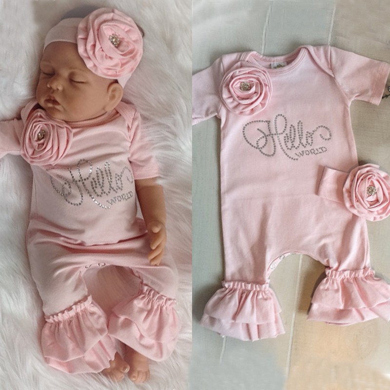 Pudcoco Girl Jumpsuits 3D Flower Pink  Newborn Baby Girls Flower Romper Jumpsuit Headband Fall Outfits Clothes Set