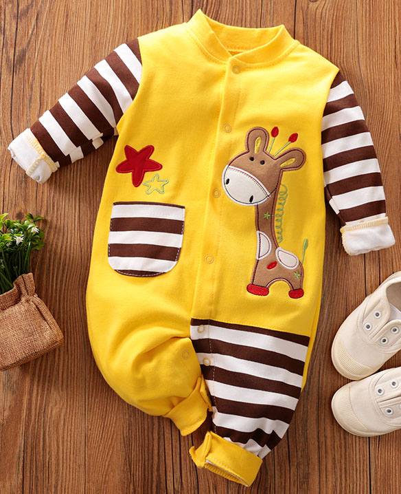 PatPat 2020 New Spring  Autumn Cotton Baby Giraffe Pocket Design Jumpsuit Romper Pajamas Striped Single-breasted Baby Clothes