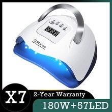 180W 네일 램프 일 X7 최대 57LED UV 램프 Phototherapy 매니큐어 건조기 램프 매니큐어를위한 자동 직업적인 램프