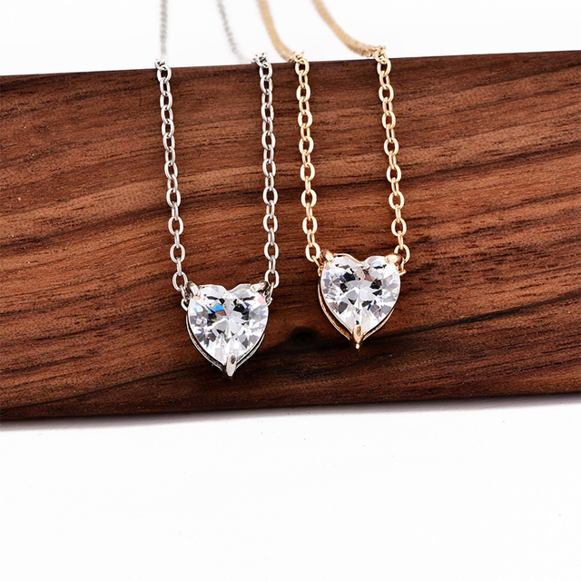 2019 New Female Fashion Crystal Heart Necklace Pendant Short Gold Chain Necklace Pendant Necklace Charm Gifts girlfriends Accessories Jewellery & Watches Women's Fashion