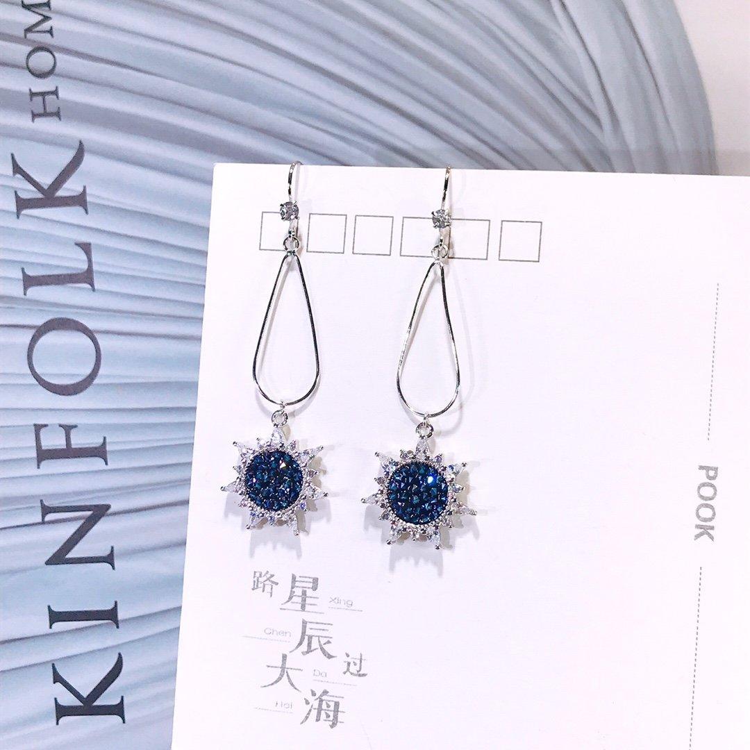 925 bijoux en argent Sterling boucles d'oreilles Simple soleil fleur goutte boucles d'oreilles pour les femmes bijoux cadeau