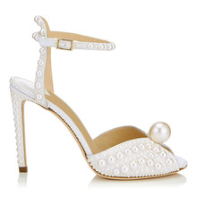 Women Pumps Rhinestones Crystal Pearl High Heels Sexy Pointed Toe Buckle Strap Wedding Party Shoes Thin Heels Peep-toe Shoes chuassure female sexy high heel peep toe buckle strap high thin heels women stilettos women dress shoes women black green