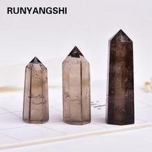 Pedra sextavada do tratamento da varinha do obelisco de quartzo dos prismas da cura do ponto de cristal natural do chá de quartzo 4-7cm 1 pc