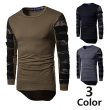Eurocode stretch cotton camouflage mesh stitching T-shirt mens round collar long sleeve anime shirt