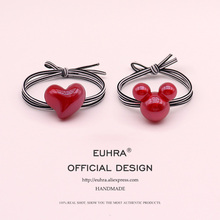 EUHRA Acrylic Red Mickey Minnie Head Heart Love For Women Elastic Hair Bands Kid Children Rubber High Elasticity