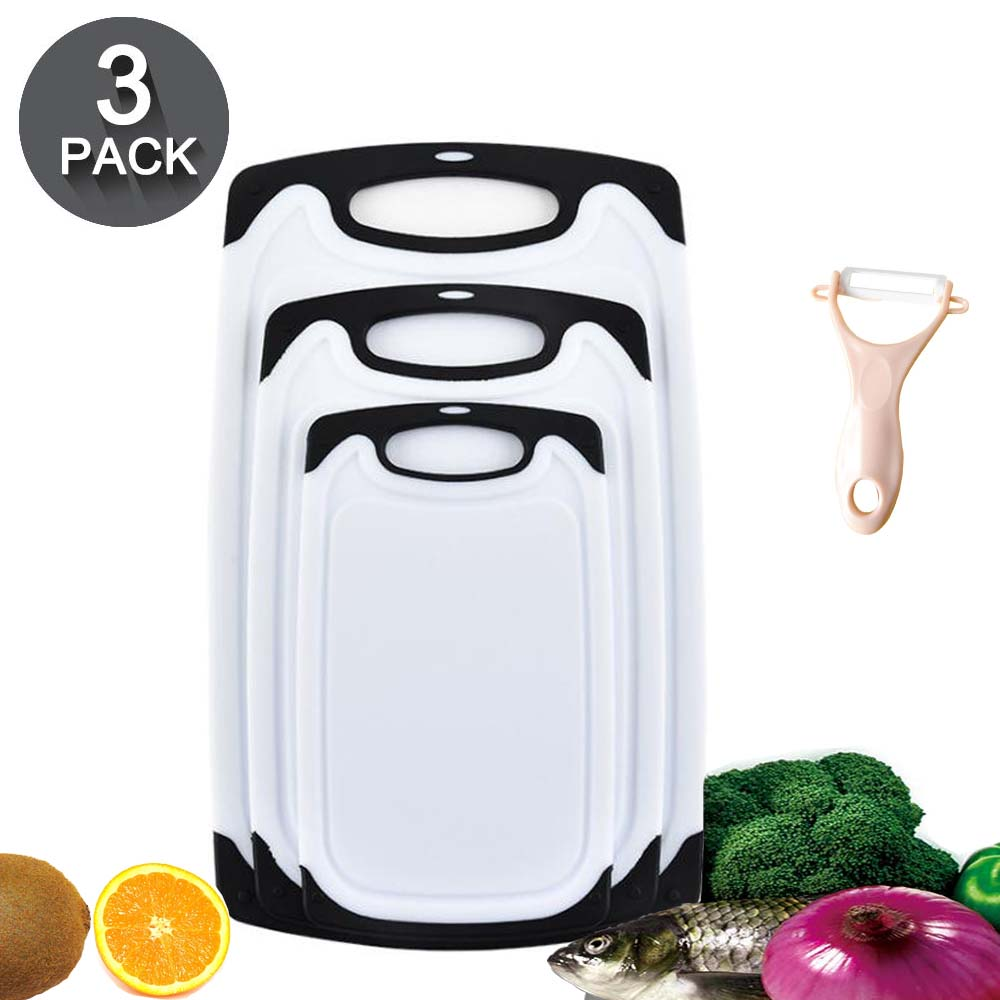 Kitchen Cutting Board with a Peeler Anti-slip Design Plastic Chopping Board Dishwasher Safe for Vegetable Meat Kitchen Tools