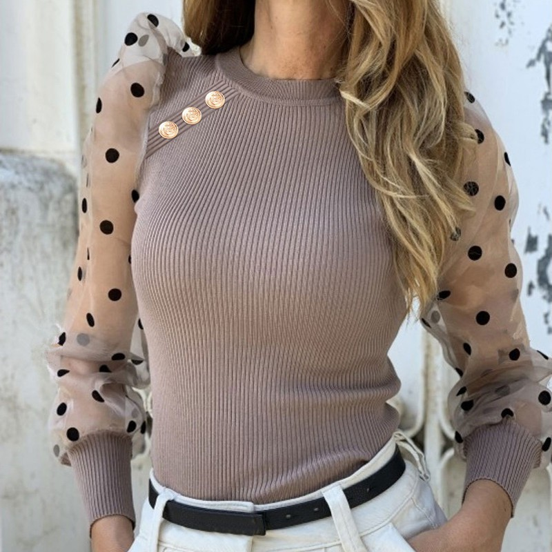 Wholesale Slim Sweet Sweater Women Wild Cross Mesh Stitching Knitwear Long Sleeved Round Collar Sweaters Pull Femme
