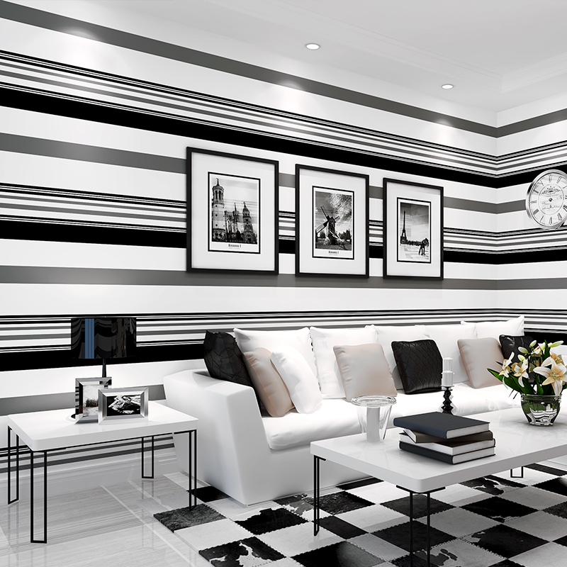Modern Black White Gray Striped Wallpaper Restaurant Living Room Sofa TV Background Wall Home Decor Plain