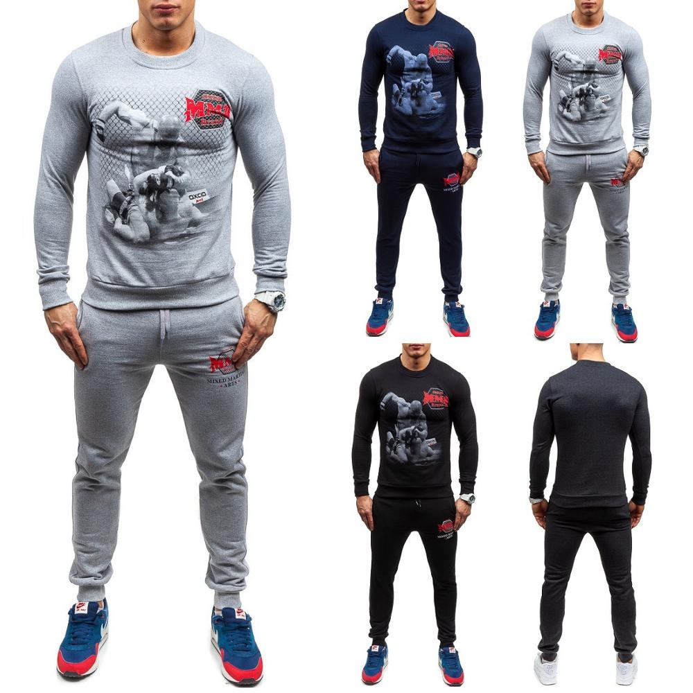 ZOGAA Men Tracksuits 2 Piece of Outfits 2019 New Fashion Parts Sweatshirt and Sport Pants Set Sweatsuit Track Suit