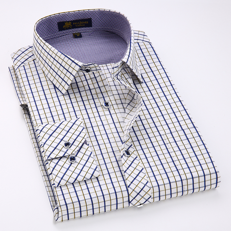 Classic Plaid Shirt Men's Long Sleeve Dress Shirts Casual Business Male Regular Formal Shirt With Chest Pocket