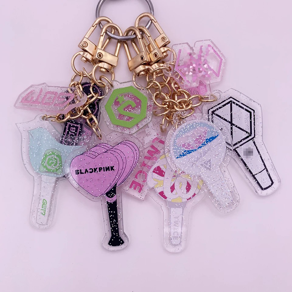 Kpop Acrylic Keychain BLACKPINK GOT7 IZONE SEVENTEEN TWICE ROSE Keyrings Fashion Car Phone Key Chains Pendant Accessories