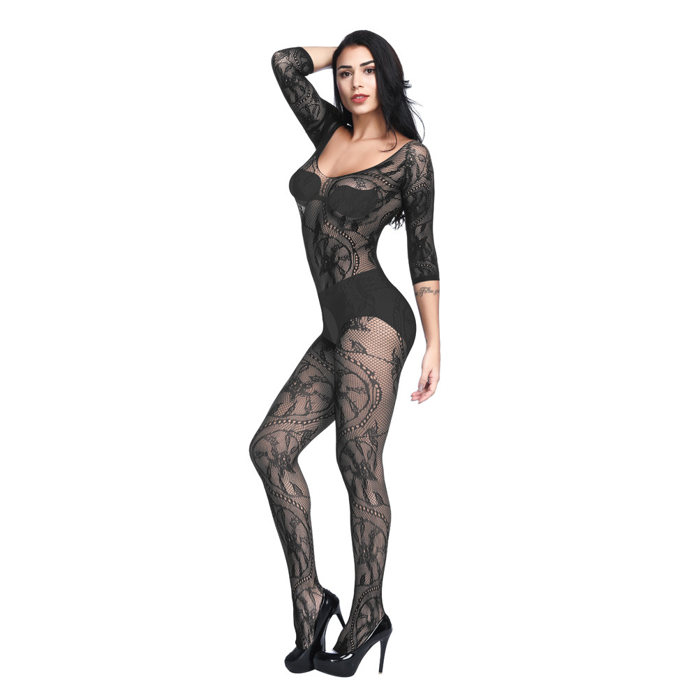 Plus Size <font><b>Sexy</b></font> Open Crotch Fetish Body Stockings <font><b>Women</b></font> Erotic Lingerie Babydoll Crotchless Pajamas Costume Full Body <font><b>Catsuit</b></font> image