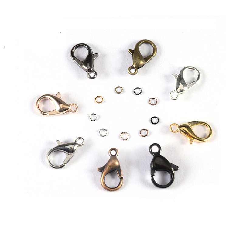 120Pcs 6 Colors Stainless Steel Curved Lobster Claw Clasps Jewelry Fastener Hook for DIY Jewelry Necklaces Bracelet Making