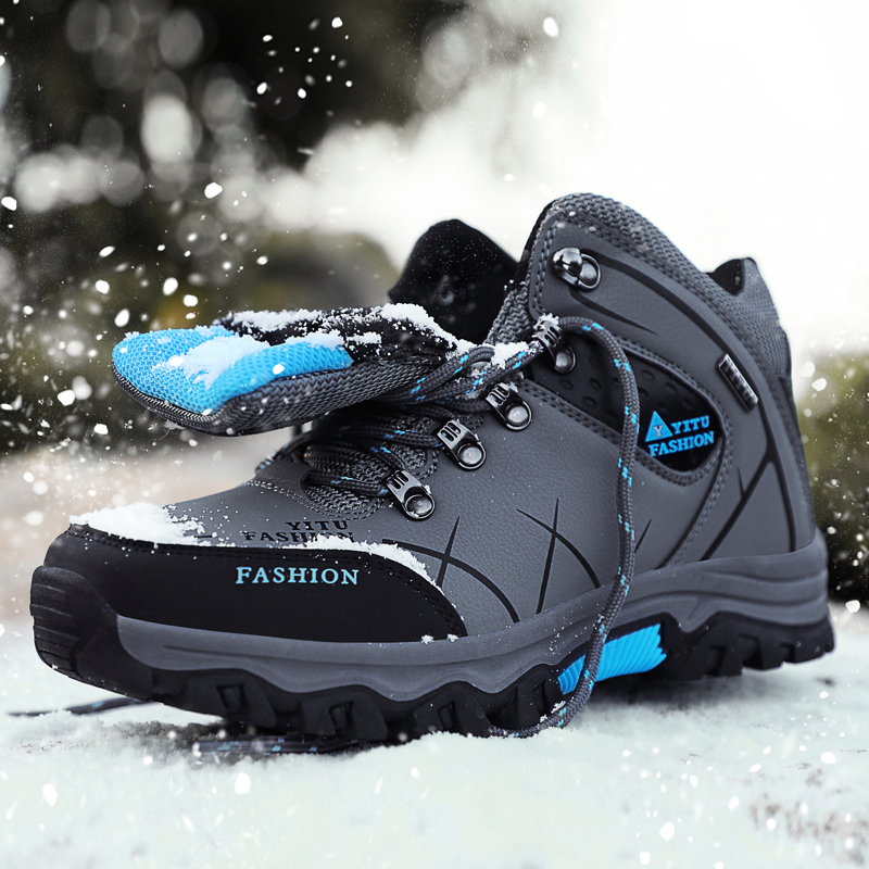 Brand Men Winter Snow Boots Waterproof Leather Sneakers Super  Warm Men's Boots Outdoor Male Hiking Boots Work Shoes Size 39-47 5