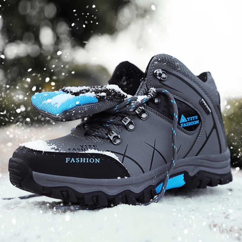 מותג גברים חורף שלג מגפיים עמיד למים עור סופר חמים גברים באיכות גבוהה חיצוני זכר הליכה נעלי עבודה 39-47