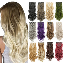 Kong&Li 7Pcs/set Long Straight Synthetic Clip In On Hair Extensions Real Black Brown Red Pink Purple Hairpieces For Women
