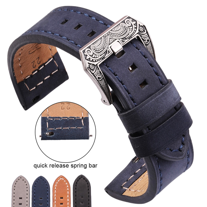 Genuine Leather Watchband With Carved Pattern Buckle Bands 4 Colors Cowhide Bracelet Strap Watch Accessories 20mm 22mm 24mm