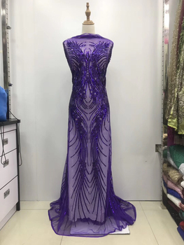 purple high quality nigerian french lace embroidered tulle lace fabric for wedding dress,2019 Russia African lace fabric LJL9709