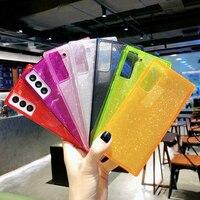Custodia per telefono quadrata trasparente glitterata per Samsung S21 Ultra Note 20 S20 FE S10 A52 A72 A51 A71 A42 5G A21S Cover in TPU morbido fluorescente