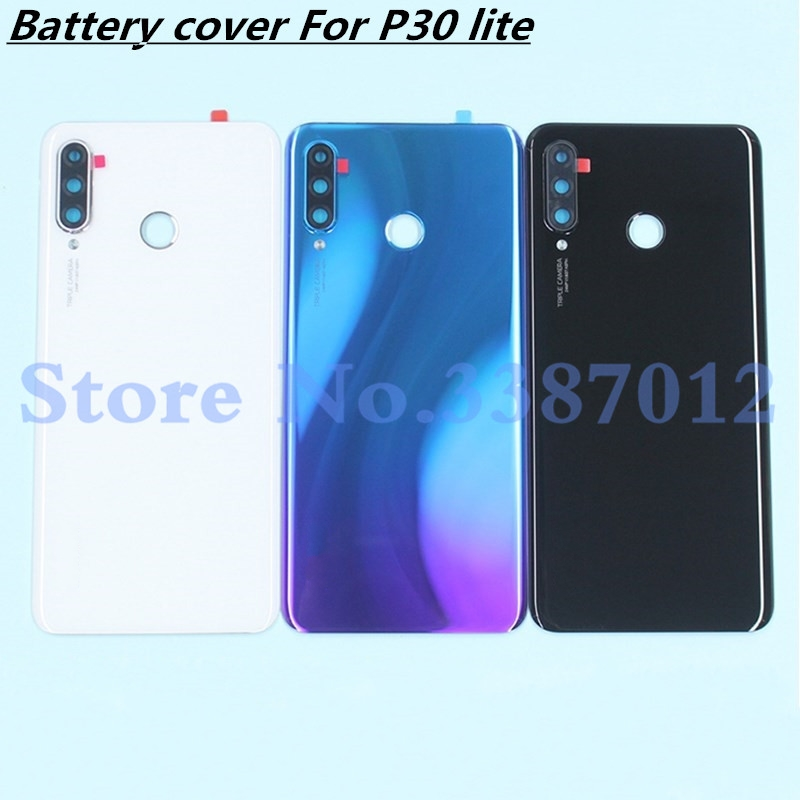 48MP Original Glass Rear Housing <font><b>Cover</b></font> For <font><b>Huawei</b></font> <font><b>P30</b></font> lite Back Door Replacement Hard <font><b>Battery</b></font> Case Nova 4e + Adhesive Sticker image