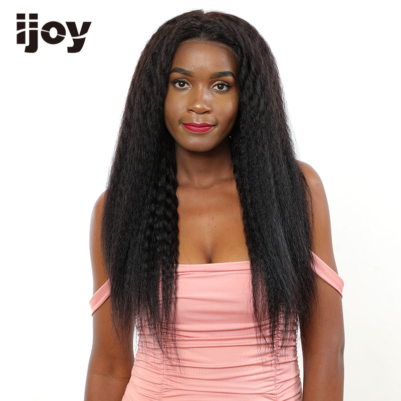 Kinky Straight Wig Lace Front Yaki Human Hair Wig 4x13 Natural Hair Brazilian Curly Human Hair Wig 16-26″ Long Wig Non-Remy IJOY