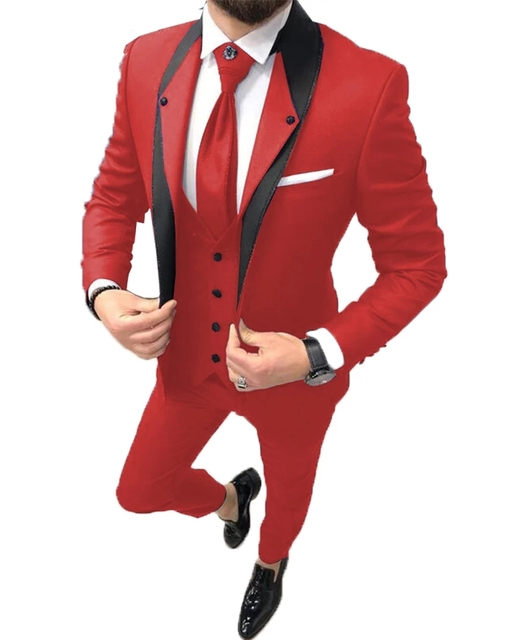 2021 High Quality Slim Fit One Button Red Groom Tuxedos Groomsmen Mens Wedding Suits 3 Piece Prom Bridegroom (Jacket+Pants+Vest)