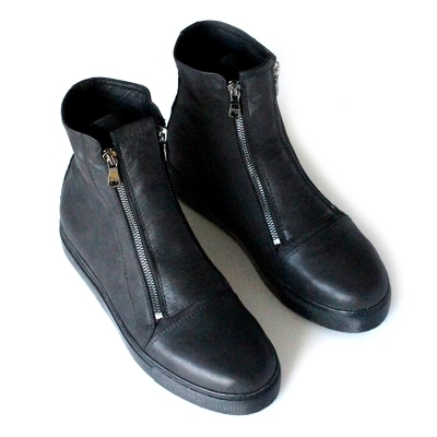 Genuine Leather Black Dress Shoes Style Men Double Zipper Ankle Boots  Round Toe Desert Boots Spring Autumn Men Szie 38-44