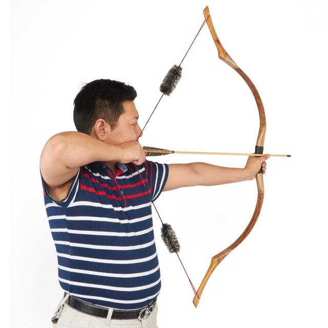 Huntingdoor Geleneksel Olimpik Yay Okçuluk Avcılık El Yapımı Longbow kahverengi deri Açık Çekim Moğol At Yay dizeleri