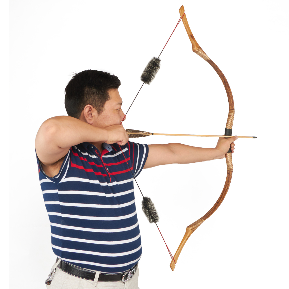 Huntingdoor Traditional Recurve Bow Archery Hunting Handmade Longbow Brown Leather Outdoor Shooting Mongolian Horse Bow Strings