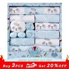 Ropa de algodón 100% para recién nacido, gorro y babero, 18 unidades/lote
