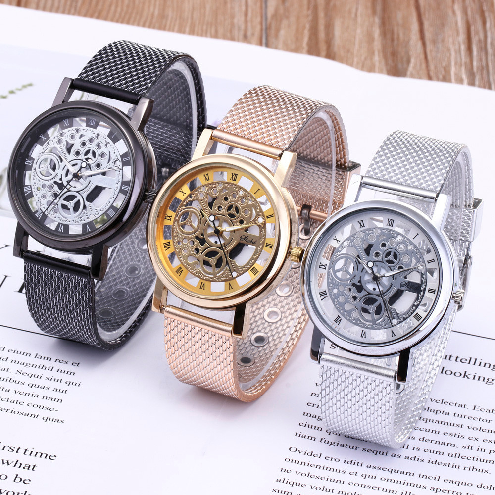 Men Luxury Stainless Steel Quartz Military Sport Plastic Band Dial Wrist Watch