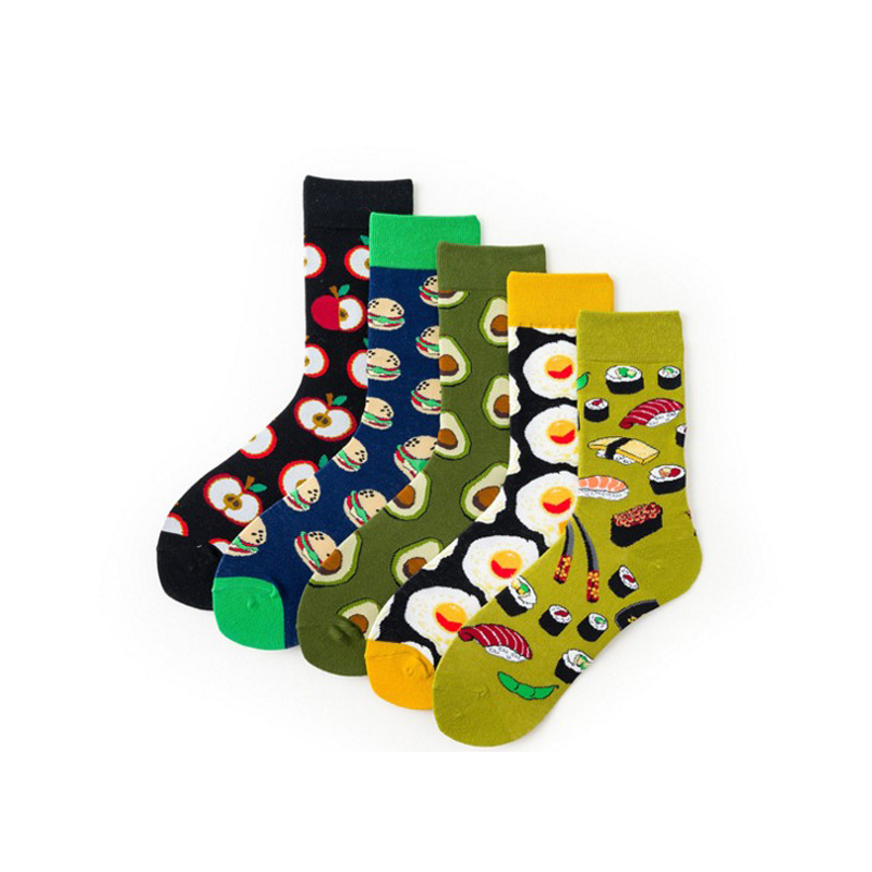 Fashion Style Hamburger Avocado Antiskid Girls Boys Socks High School Socks Egg Sushi Japanese Skateboard Sock