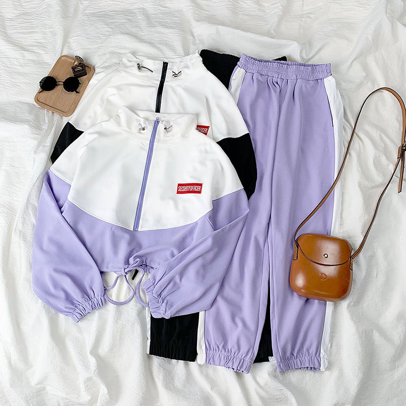 Spring Autumn Korean Suit Female Casual Weird Girl Hip Hop Slim Fashion Casual Sports Harajuku Style Two-piece Suit Women Tops