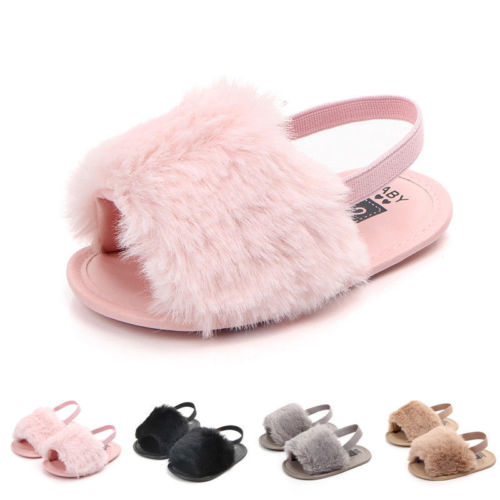 Infant Baby Girl Sandals Flat Heel Soft Sole Crib Shoes Cute Solid Fluffy Fur Summer Slippers