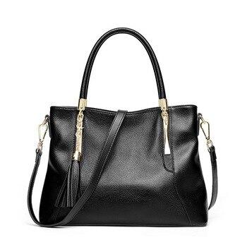 ICEV casual solid zipper large capacity cowhide tote genuine leather women's handbag tassel ladies messenger bags famous brands фото