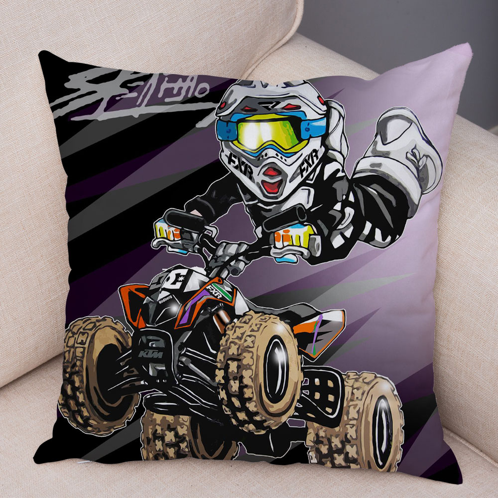 Extreme Sports Cushion Cover Decor Cartoon Motorcycle Pillowcase Soft Plush Colorful Mobile Bike Pillow Case for Sofa Home Car 8