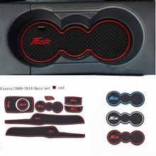 Автомобильные аксессуары для Ford Fiesta 2009-2014, 3D резиновый коврик, коврик для внутренней чашки, коврик для двери, автомобильный держатель для те...