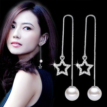 Fashion Silver-color Simulated Pearl Pendent Long Chain Star Earrings Bridal Wedding Jewelry Drop