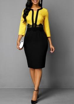 Plus Size Women 2019 Autumn Retro Yellow Stitching Large Size Dress Ladies Round Neck Casual 3/4 Sleeve Slim Bag Hip Step Dress 1