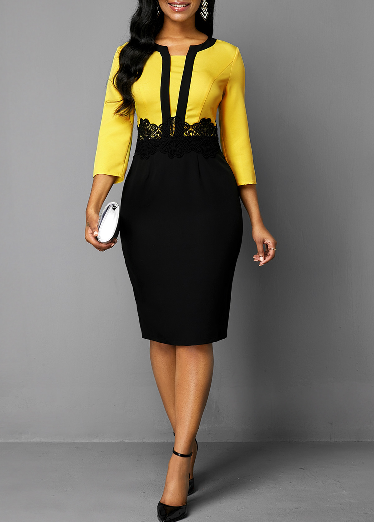 Plus Size Women 2019 Autumn Retro Yellow Stitching Large Size Dress Ladies Round Neck Casual 3/4 Sleeve Slim Bag Hip Step Dress