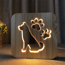 Creative dog Table Lamp Bedside Lamp Solid Wood Warm Table Lamp LED Night Light Decoration Lamp Lamparas Mesita Noche Dormitorio cute creative dolphin led night light bedroom home decoration warm desk led nightlight usb wood pine solid hollow table led lamp page 3